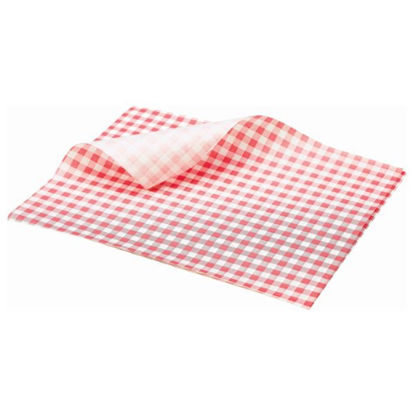 Red Gingham Print Greaseproof Paper Sheets 25x20cm