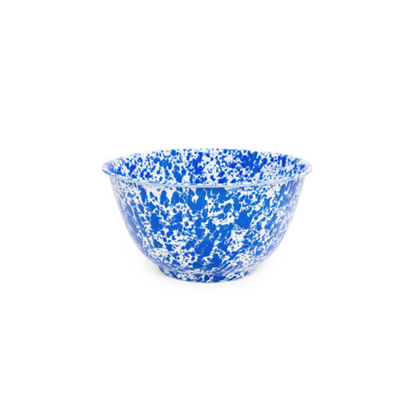 Enamel Splatterware Blue Tall Salad Bowl