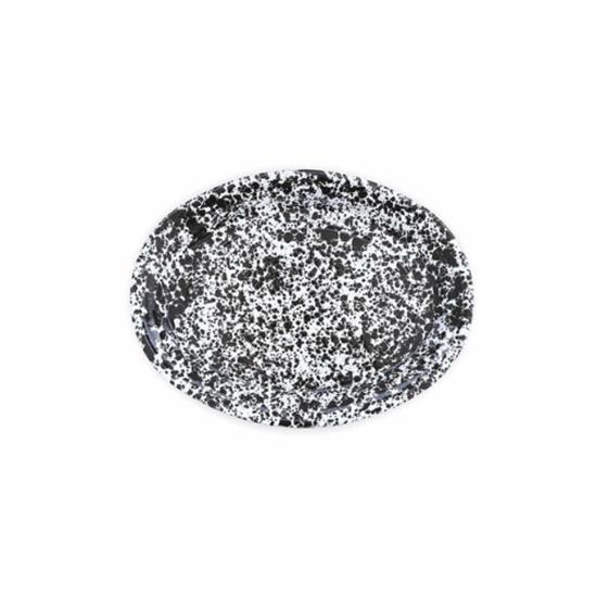 """Enamel Splatterware Black Oval Platter 18"""" (45cm)"""