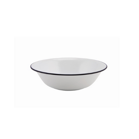 "Enamel White Bowl Blue Rim 6.25"" (16cm)"