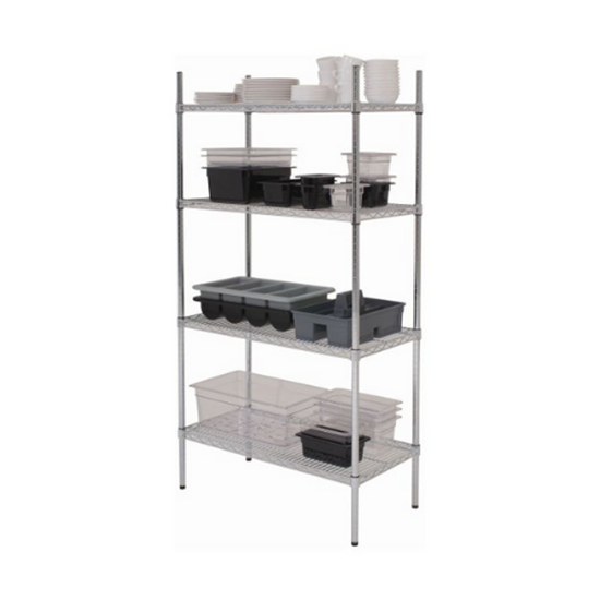 "4 Tier Chrome Shelving Unit 48"" X 18"" X 72"" (123x45.7x183"")"