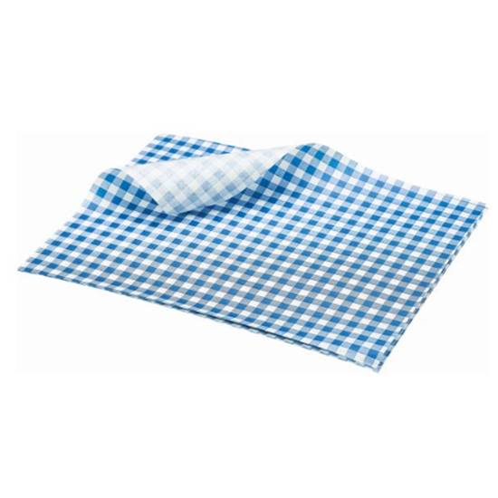 "Blue Gingham Greaseproof Paper 9.8x7.9"" (25x20cm)"