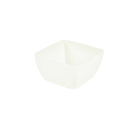 "White Melamine Curved Square Bowl 6"" (15cm)"