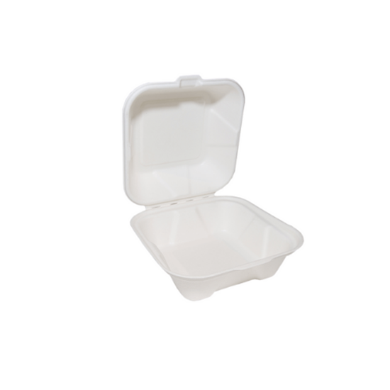 "White Bagasse Burger Box 6"""