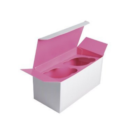 2 Cup Insert Pink Cupcake Box