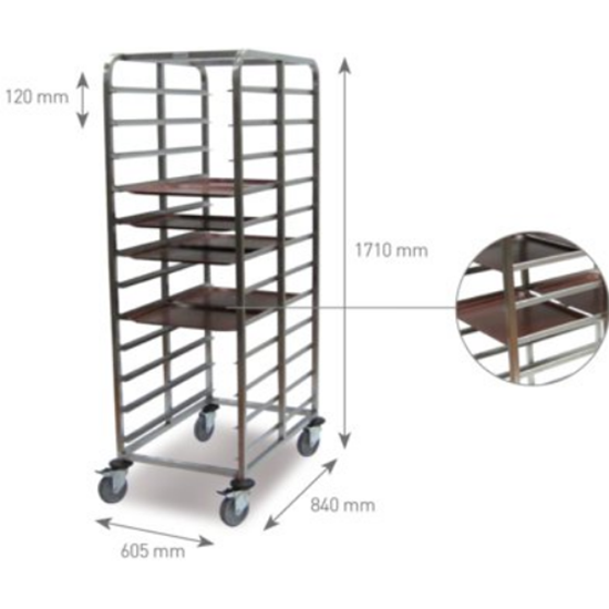 "24 Tray Clearing Trolley For 14x18"" Tray"