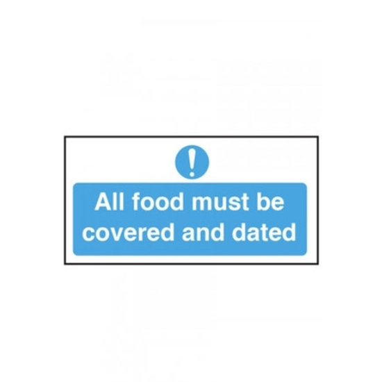 """All Food Must Be Covered/Dated Sign 3.9x7.9"""" (10x20cm)"""