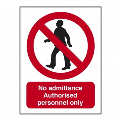 "Authorised Personnel Only Wall Sign 7.9x6"" (20x15cm)"