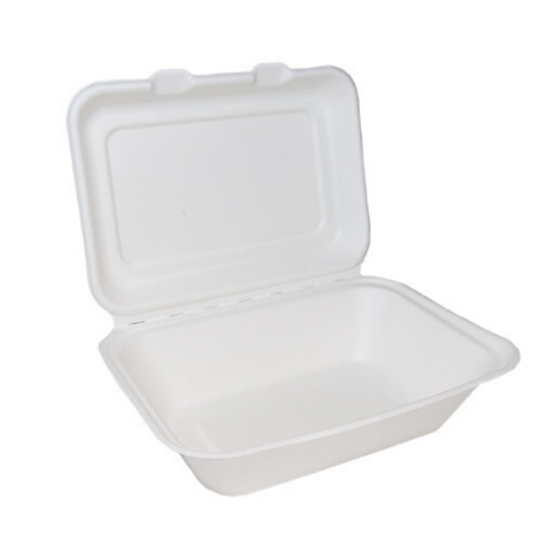 "Bagasse Clamshell Regular Box 7x5"" (17.8x12.7cm)"