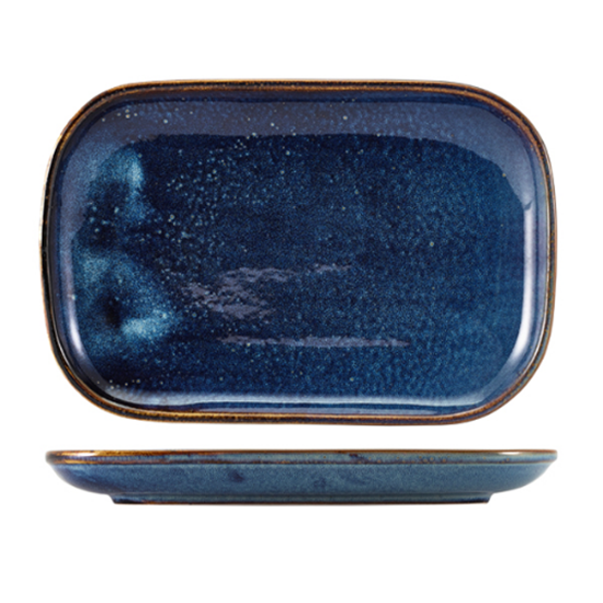 "Terra Porcelain Aqua Blue Rectangular Plate 11.4x7.7"" (29x19.5cm)"