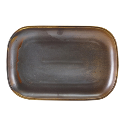Terra Porcelain Rustic Copper Rectangular Plate 11.4x7.7""