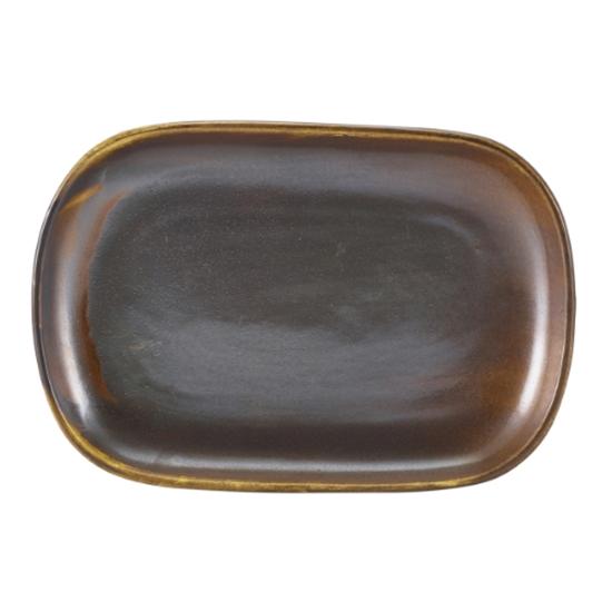 "Terra Porcelain Rustic Copper Rectangular Plate 9.5x6.5"" (24x16.5cm)"