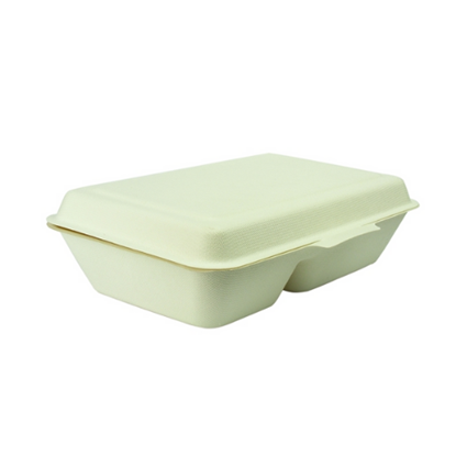Compostable Two Compartment Clamshell Box 1000ml