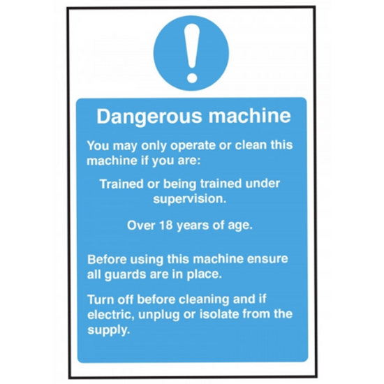 "Dangerous Machine Operation Safety Sign 11.8x7.9"" (30x20cm)"