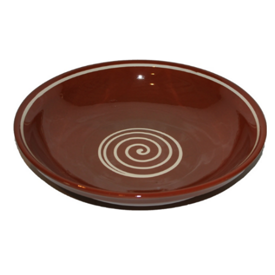 """Brown With Cream Swirly Bowl 15"""" (38cm)"""