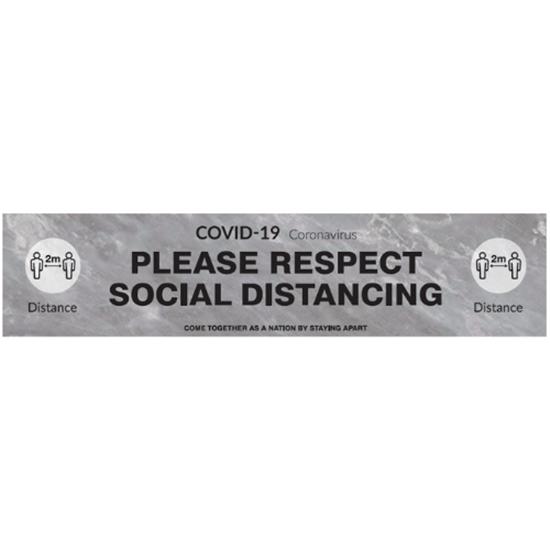 'Please Respect Social Distancing' Floor Graphic (Grey & Black)