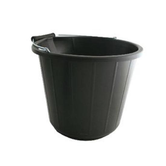 Black Plastic Bucket 15L