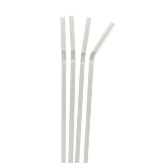 """Biodegradable Clear Bendy Straw 7.5"""" (19cm)"""