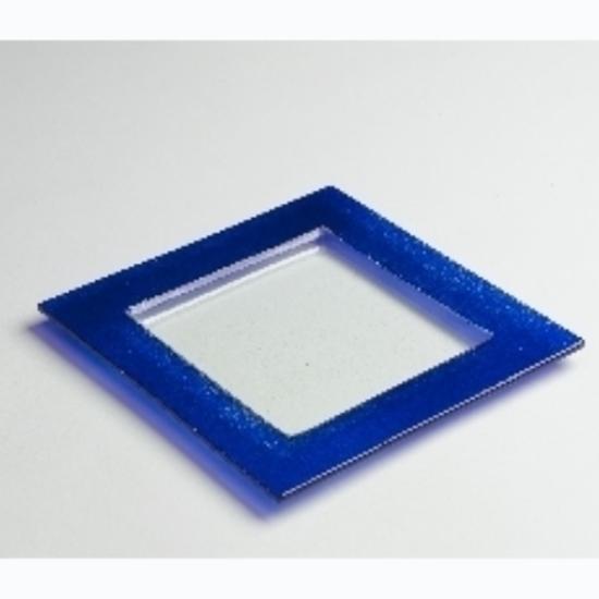 "Blue Border Glass Plate 10x10"" (25.4x25.4cm)"