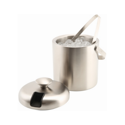 Insulated Stainless Steel Ice Bucket & Tongs 1.2L