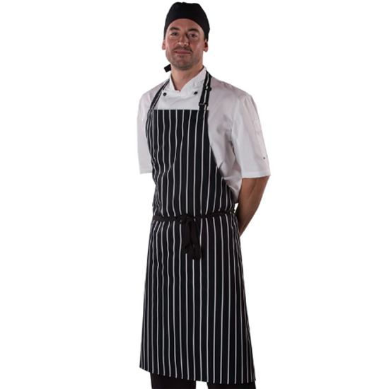 Denny Black/White Striped Bib Apron