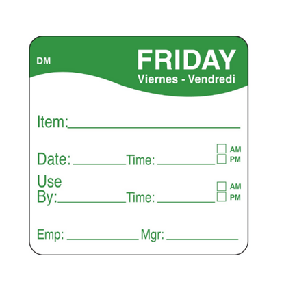 Dissolvable Friday Use By Label 25x25mm