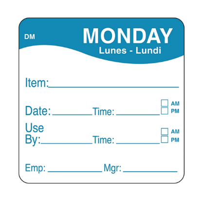 Dissolvable Monday Use By Label 25x25mm