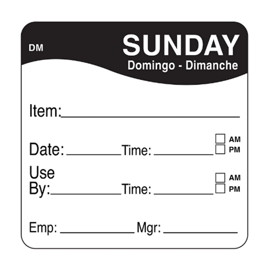 Dissolvable Sunday Use By Label 25x25mm