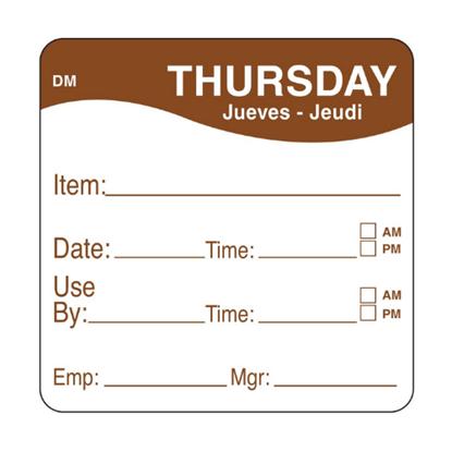 Dissolvable Thursday Use By Label 25x25mm