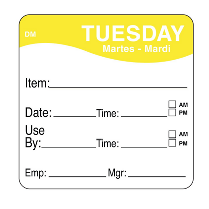 Dissolvable Tuesday Use By Label 25x25mm