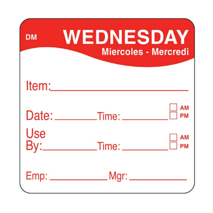 Dissolvable Wednesday Use By Label 25mmx25mm
