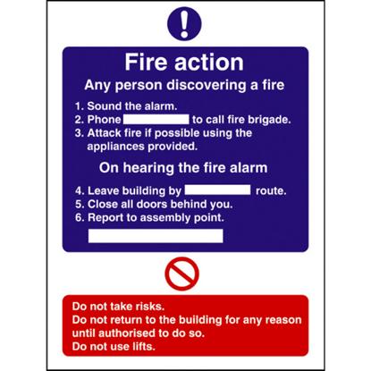 "Fire Action Sign 7.9x6"" (20x15cm)"