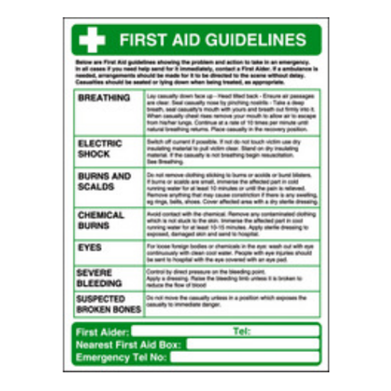 """First Aid Guidelines Sign 15.7x11.8"""" (40x30cm)"""