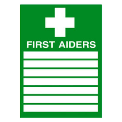 """First Aiders List Sign 11.8x7.9"""" (30x20cm)"""