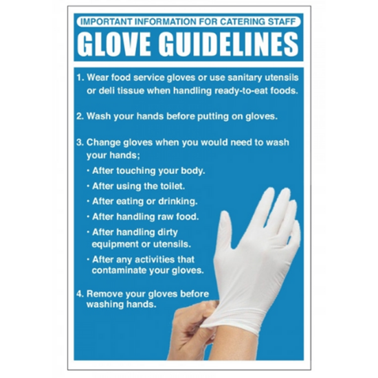 """Glove Guidelines Sign 11.8x7.9"""" (30x20cm)"""