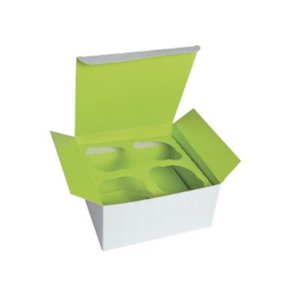 "Green Cupcake Box (4 Insert) 6.7x6.7x3.3"" (17x17x8.5cm)"