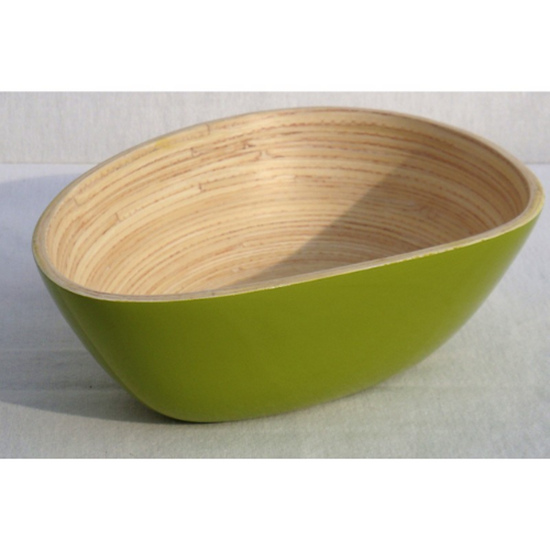 """Green Oval Bamboo Bowl 10.2x3"""" (26x7.5cm)"""