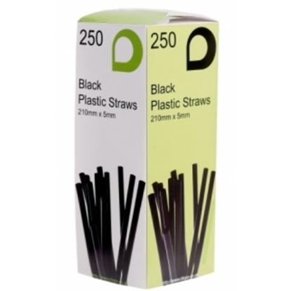 Black Plastic Flexi Straws In Dispenser Box