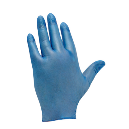 Blue Powdered Vinyl Gloves (Large )