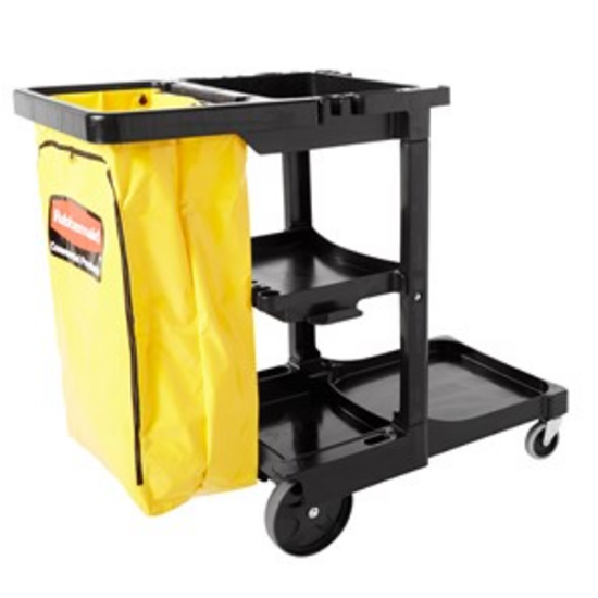 Rubbermaid Black Janitor Cart With Bag