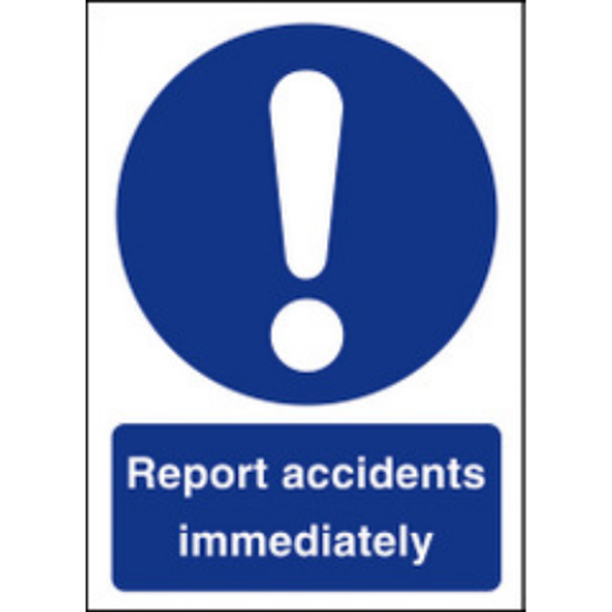 """Report Accidents Sign 11.8x7.9"""" (30x20cm)"""