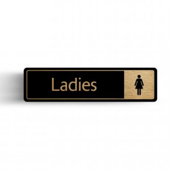"Gold/Black Ladies Toilet Sign 2.4x6.7"" (6x17cm)"