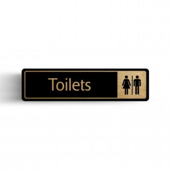 "Gold/Black Toilet Sign 2.4x6.7"" (6x17cm)"