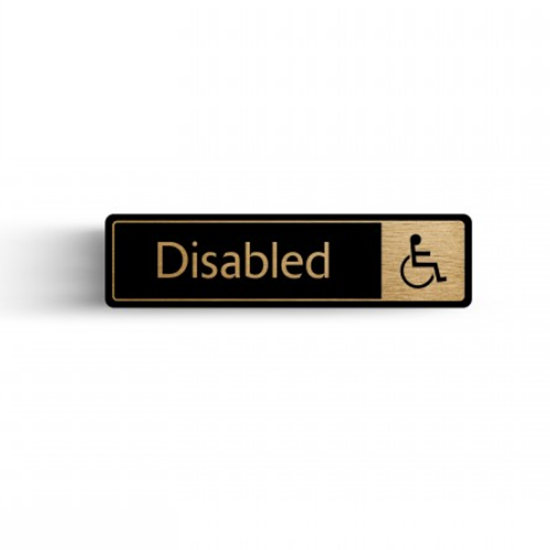 "Gold/Black Disabled Toilet Sign 2.4x6.7"" (6x17cm)"