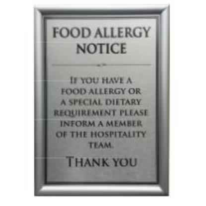 Silver Snap Frame A4 Food Allergen Notice