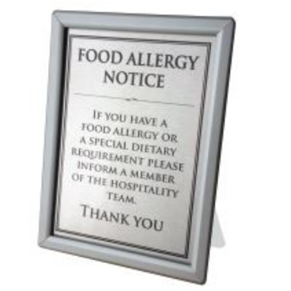 Silver Snap Frame Counter A4 Food Allergen Notice
