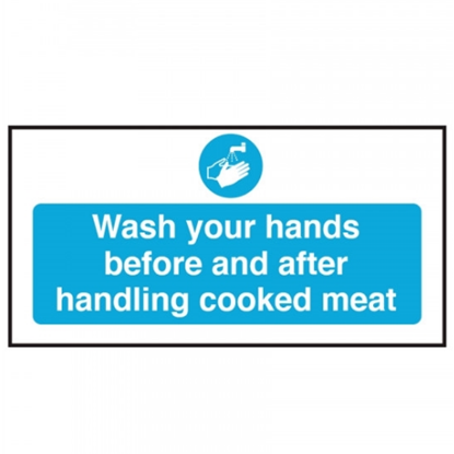"""Wash Your Hands/Handling Cooked Meat Sign 3.9x7.9"""" (10x20cm)"""
