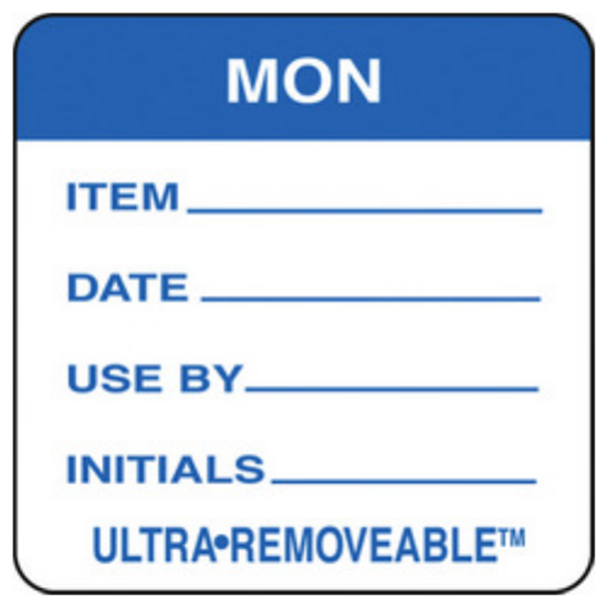 Use By Labels Monday Blue