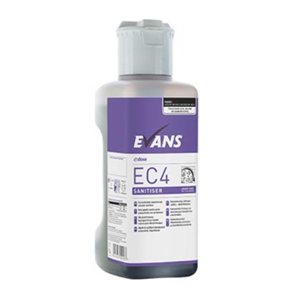 Evans Ec4 Sanitiser Unperfumed Cleaner Sanitiser C/W Dosing Cap 1L
