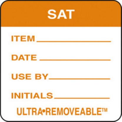Use By Labels Saturday Orange